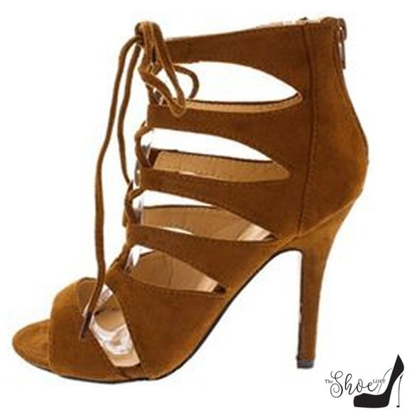 The Shoe Loft65 Shoes - Xuxa Cognac Lace Up Cut Out Heels